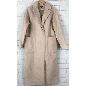 Topshop Long Coat Jacket 8 Peacoat With Pockets